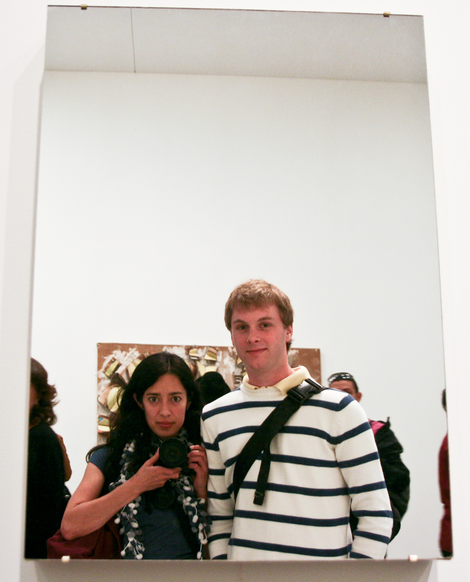 The two of us in a mirror that was hung as artwork.
